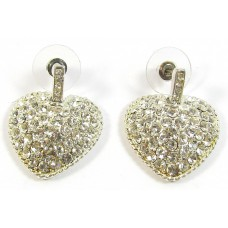 1 Pair Crystal Swarovski Crystal Silver-Plated Heart Earrings