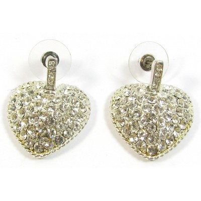 1 Pair Crystal Swarovski Crystal Silver-Plated Heart Earrings