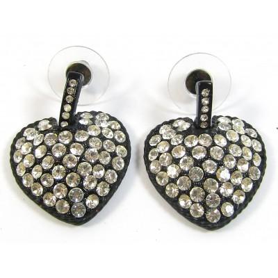 1 Pair Crystal Swarovski Crystal Black-Matte Heart Earrings