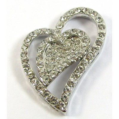 1 Silver Crystal Heart Pendant
