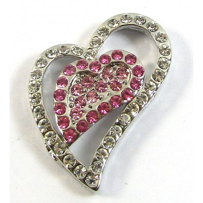 1 Hot Pink Crystal Heart Pendant