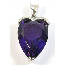 1 Sterling Silver Amethyst Fancy Cut Heart Pendant