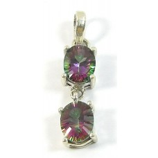1 Mystic Topaz Fancy Cut Sterling Silver Double Pendant
