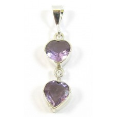 1 Sterling Silver Faceted Amethyst Double Heart Pendant