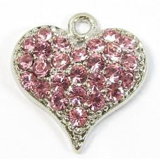 1 Crystal Heart Pendant - Pink