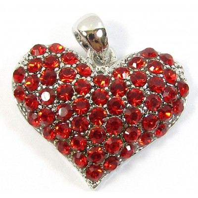 1 Crystal  Set Heart Pendant - Red