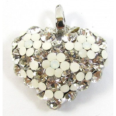 1 Crystal Set Heart Pendant - Clear/ White/ Silver