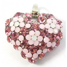 1 Crystal Set Heart Pendant - Pink/ Opal/ Rose