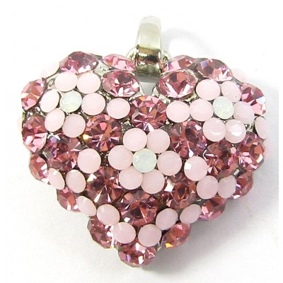 1 Crystal Set Heart Pendant - Pink/ Opal/ Rose