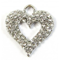 1 Crystal Set Cutout Heart Pendant - Clear