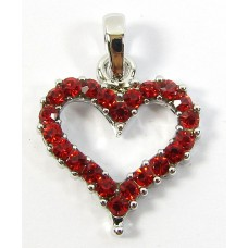 1 Silvertone Red Crystal Heart Pendant