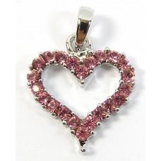 1 Silvertone Pink Crystal Heart Pendant