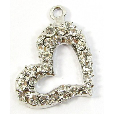 1 Silvertone Clear Crystal Side-Hanging Pendant