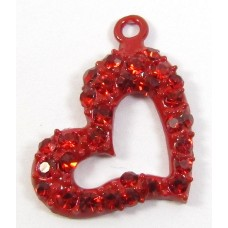 1 Red Enamel Crystal Set Side Hanging Heart Pendant
