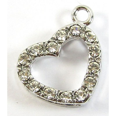 1 Clear Crystal Frame Side Hanging Silvertone Small Pendant