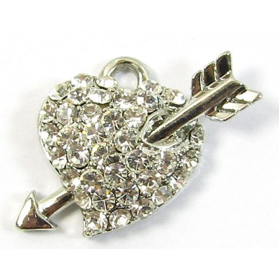 1 Clear Crystal Heart and Arrow Small Pendant/ Charm - Points Left