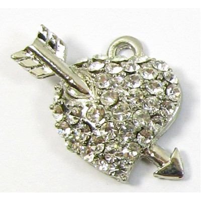 1 Clear Crystal Heart and Arrow Small Pendant/ Charm - Points Right