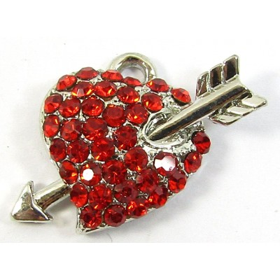 1 Red Crystal Heart and Arrow Small Pendant/ Charm - Points Left