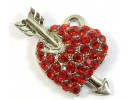 PN-494, Red Crystal Heart and Arrow Small Pendant/ Charm