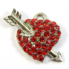 1 Red Crystal Heart and Arrow Small Pendant/ Charm - Points Right