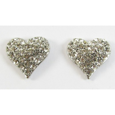 Pair Crystal Heart Earrings - Swarovski Crystal - Clear