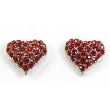 Pair Crystal Heart Earrings - Swarovski Crystal - Siam Red