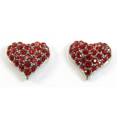 Pair Crystal Heart Earrings - Swarovski Crystal - Siam Red
