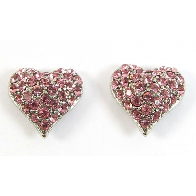 Pair Crystal Heart Earrings - Swarovski Crystal - Rose