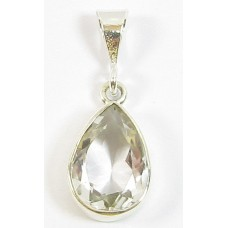 1 Sterling Silver and Rock Crystal Drop Shape Pendant