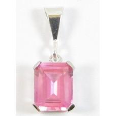 1 Oblong Shape Siberian Pink Sapphire Sterling Silver Pendant