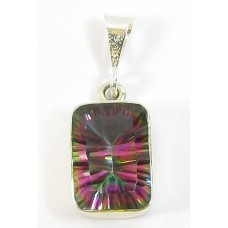 1 Sterling Silver and Siberian Mystic Topaz Oblong Pendant