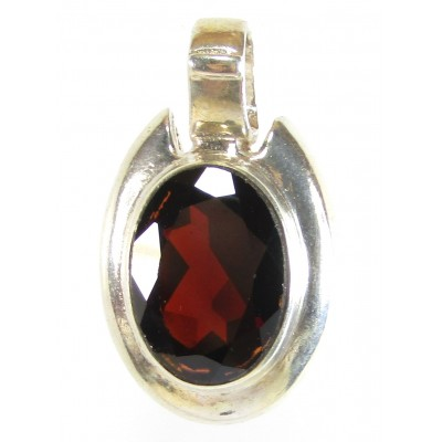 1 Sterling Silver and Garnet Pendant