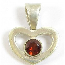 1 Sterling Silver and Garnet Heart Pendant