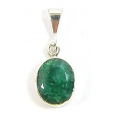 1 Sterling Silver and Emerald Pendant