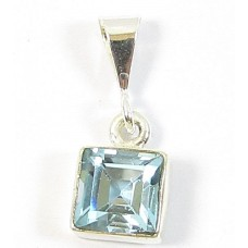 1 Sterling Silver and Blue Topaz Square Pendant