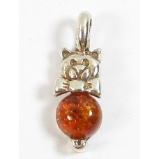 1 Sterling Silver and Amber Pussycat Pendant