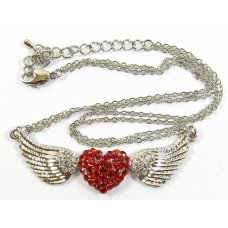 Crystal Set Winged Heart Pendant with Chain - Red