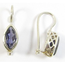 Faceted Iolite Marquise Sterling Silver Earrings