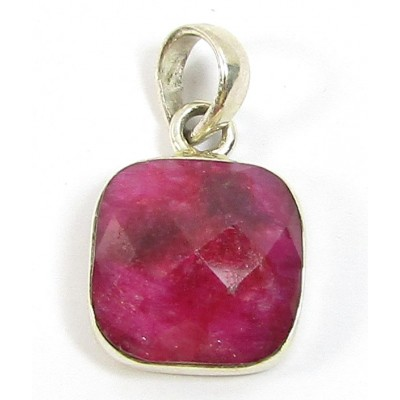 Sterling Silver Ruby Faceted Pendant