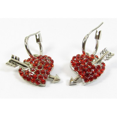 Pair Red Crystal Heart and Arrow Earrings