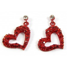 Pair Red Enamel Crystal Set Side Hanging Heart Earrings
