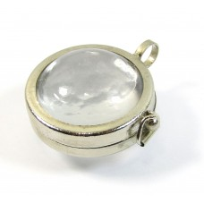 Chunky Glass Globe Pendant in Silvertone Setting, Just Add Your Own Image to the Pendant