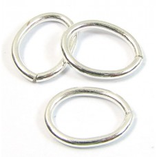 10 Shiny Plated Silver Oval Links