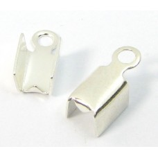 10 Silver Plated Small Fold Over Crimp Cord Ends
