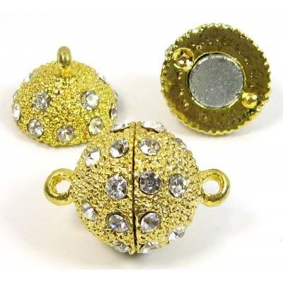 1 Swarovski Crystal and Gold Plated Round Magnetic 16mm Clasp