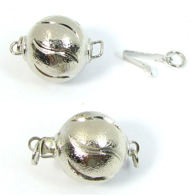 1 Silver Plated Ball Push-In Clasp