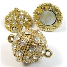 1 Swarovski Crystal and Gold Plated Round Magnetic 14mm Clasp