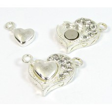 1 Swarovski Crystal and Silver Plated Magnetic Heart Clasp