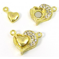1 Swarovski Crystal and Gold Plated Magnetic Heart Clasp