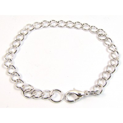 1 Silver Plated 18cm Bracelet Chain with Clasp